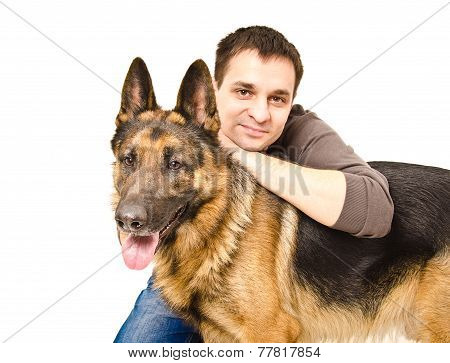 Man and German shepherd