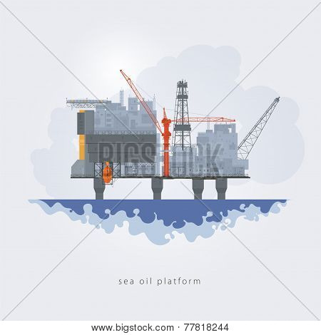 Sea Oil Platform, Vector Illustration