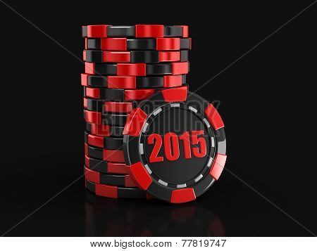 Casino chip stacks 2015 (clipping path included)