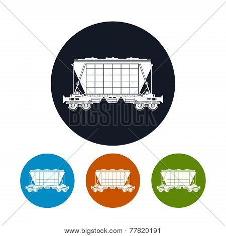 Icon  Hopper Car  For Transportation  Freights , Vector Illustration
