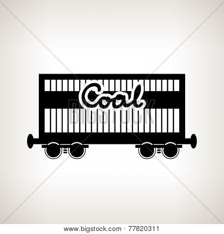 Silhouette The Railway Freight Car For Coal , Vector Illustration