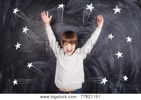 The Boy Raised His Hands To The Top And On The Chalkboard Stars Appeared