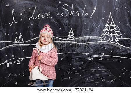 The Girl Is Ready To Skate On A Skating Rink