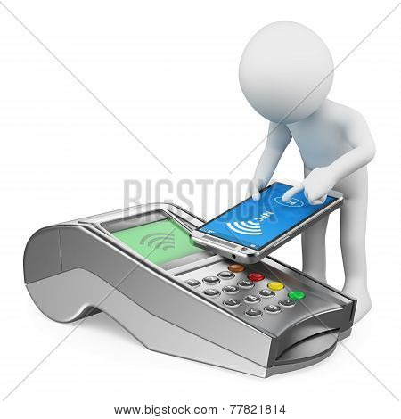 3D White People. Man Paying With A Mobile Phone With Nfc
