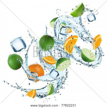 Fresh oranges and limes with water splash over white background