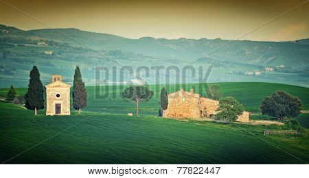 Cappella di Vitaleta, Val d'Orcia, Tuscany, Italy