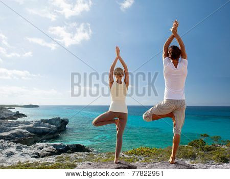 fitness, sport, and lifestyle concept - couple making yoga exercises on beach from back