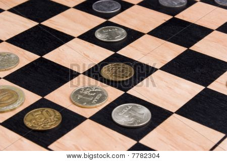 Coins on chessboard