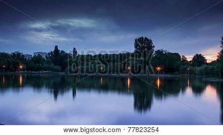 Lake in the park in the evening
