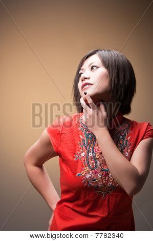 Trendy Woman In Deep Thought