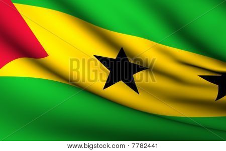 Flying Flag Of Sao Tome And Principe | All Countries Collection |