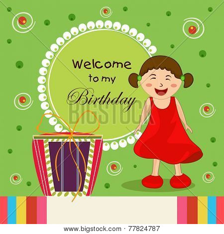 Kids birthday celebration Invitation card with cute little girl, rounded frame and gift box.