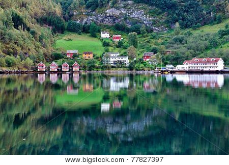 Scenic Lake View in Flam Norway