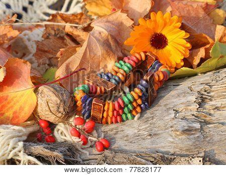 Ethnic Handmade Bone Bracelet With Calendula