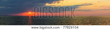 Panoramic sunset with dramatic  sky over Atlantic Ocean in Prince Edward Island, Canada