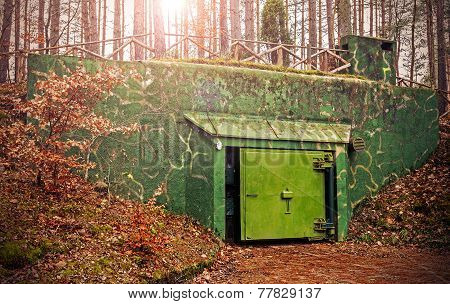 Retro Filtered Picture Of A Bunker Hidden In Forest.