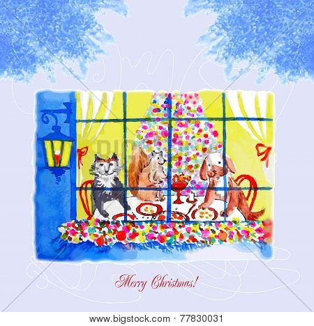 Card with Christmas Eve, a dog and a cat