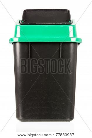 Trash Isolated Dirty Old Black Bin Isolated