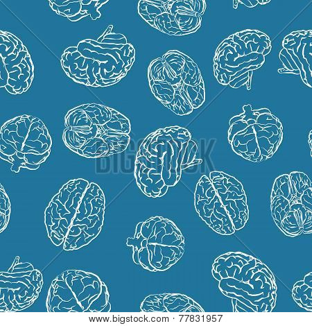 brains from different sides on blue seamless pattern