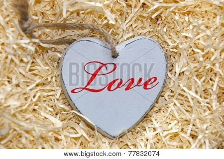 Red Inscribed Wooden Love Heart