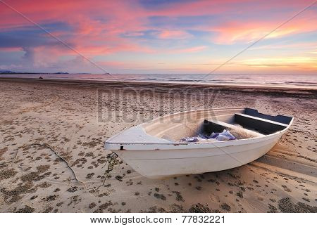 Boat Sunset in Tanjung Aru Beach