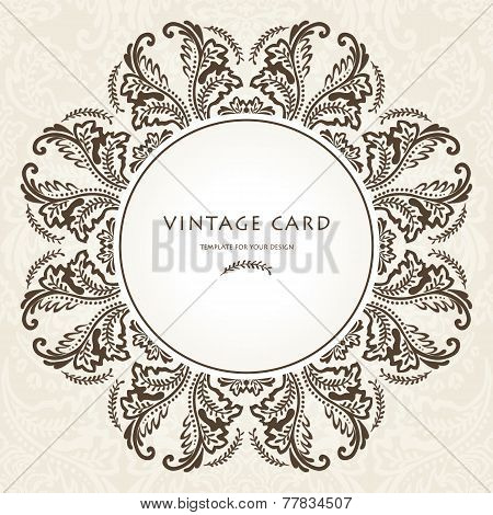 Vintage Brown Floral Frame Vector illustration