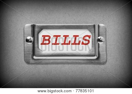 Bills Drawer Label