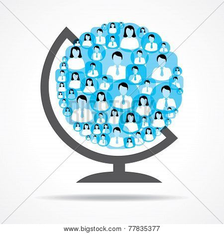 Group of female and male icons make a globe stock vector