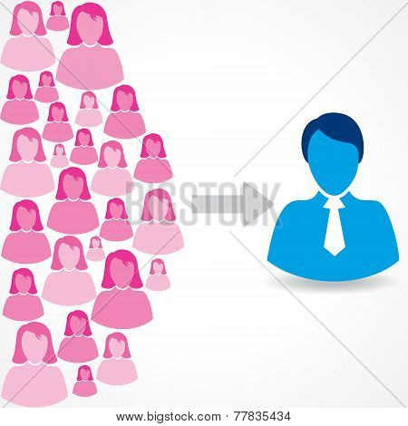 Group of female and male icons on white background stock vector