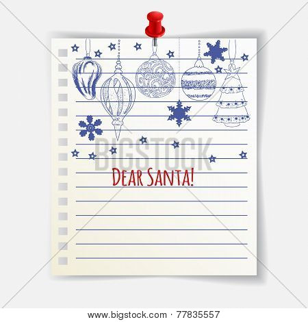 Dear Santa Card With Cute Christmas Balls