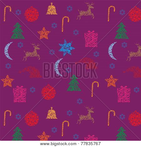 Christmas And New Year Seamless Purple Pattern
