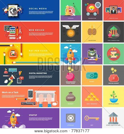 Icons for cash transactions, strategy, start up