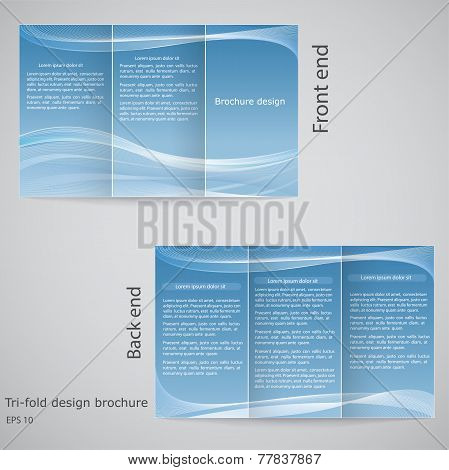 Tri-fold Brochure Design. Brochure Template Design  With Blue An