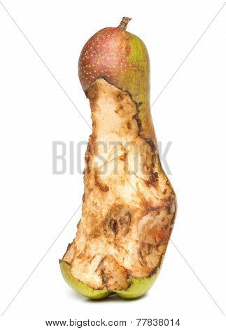 bitten spoil pear.  white background.
