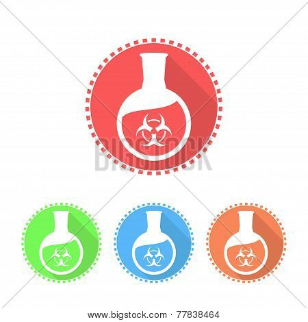 Icons Of Flat-bottomed Flask With Toxic Solution