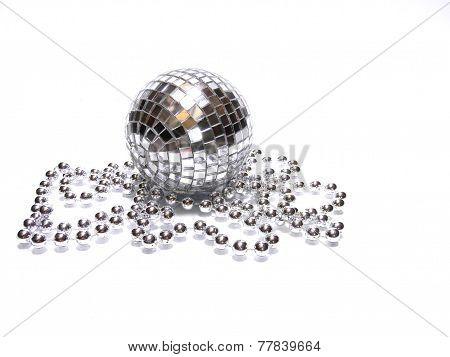 isolated disco ball with perls