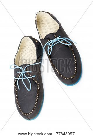 Black Men's Leather Loafers With Blue Soles And Laces On A White