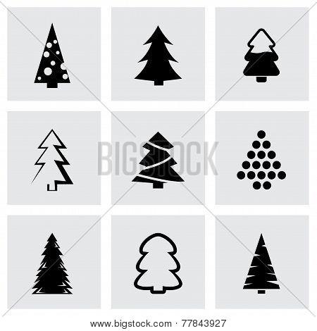 Vector black cristmas trees icon set