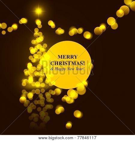 Christmas tree golden lights