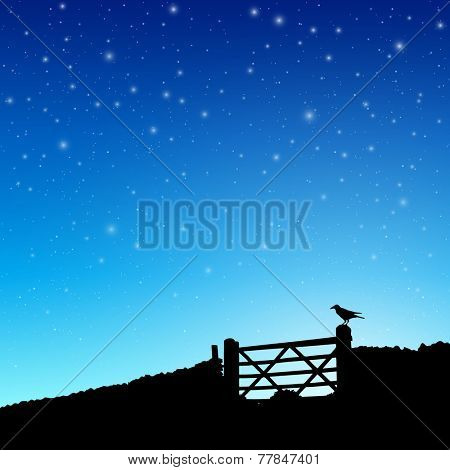 Farm Gate in Silhouette with Night Sky and Stars. - Vector EPS 10