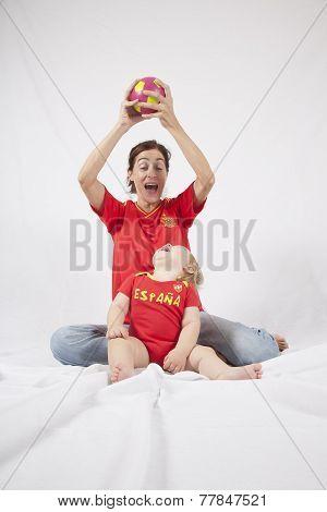 Family Spanish Soccer Fans