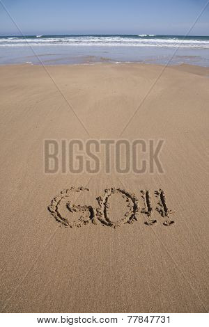 Go Text In Sand Beach