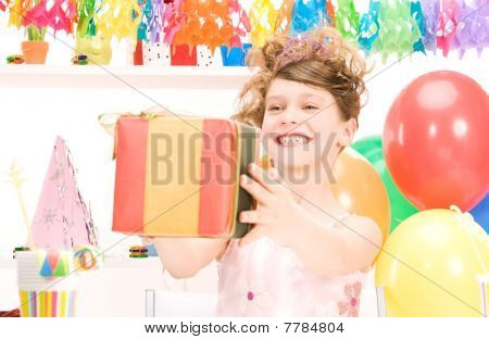 Party Girl With Balloons And Gift Box