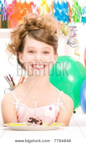 Party Girl With Cake