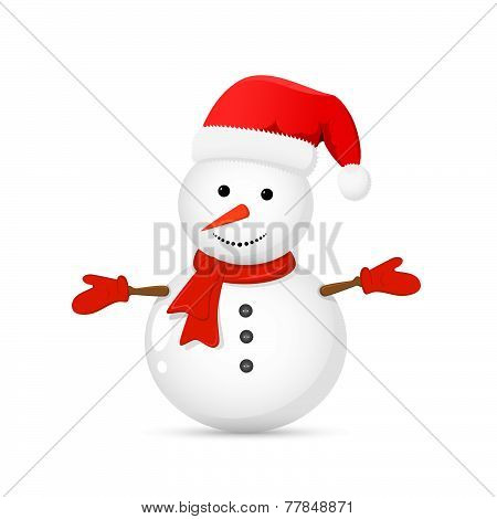 Snowman with Santa hat