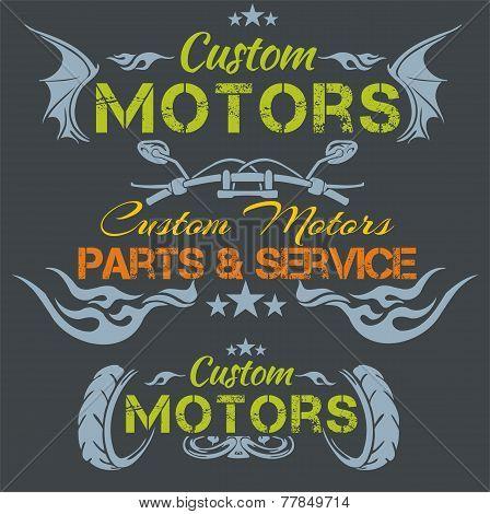 Custom motors - vector emblem set.