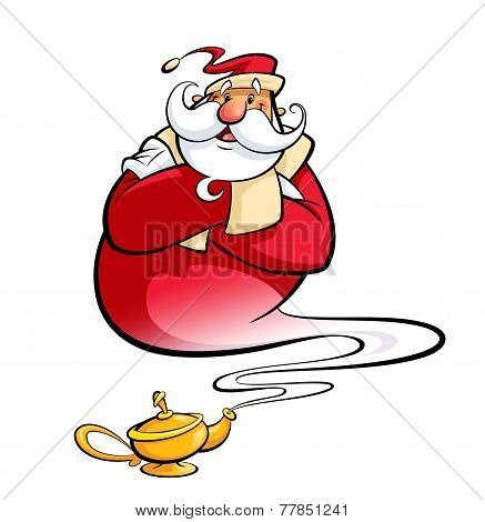 Santa Claus Through Magic Lamp Help Christmas Wishes Come True