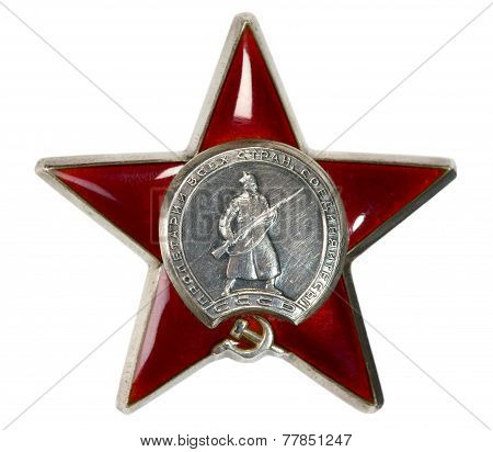 Silver Medallion With Red Star