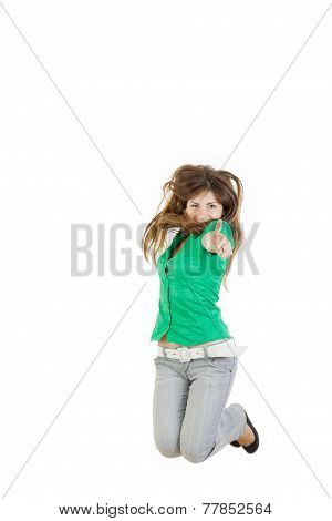 Girl Jumping  With Thumb Up Of Joy Excited Isolated On White Background In Green Shirt And Gray Jean