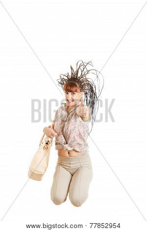 Casual Fashion Woman With Bag Jumping Happy